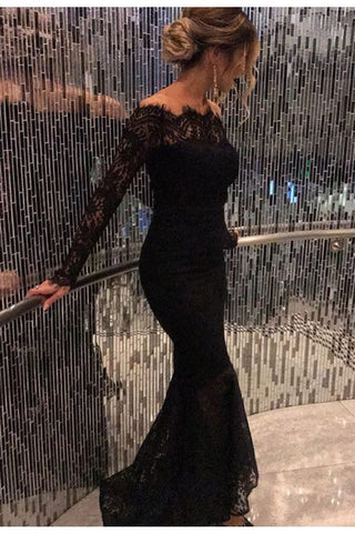 254cdfa5c6 Mermaid Black Elegant Off the Shoulder Long Lace Long Sleeves Sexy Prom  Dress OK141