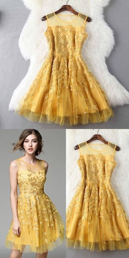 Fashion Gold Jewel A Line Sleeveless with Appliques Short Prom Homecoming Dress OK508