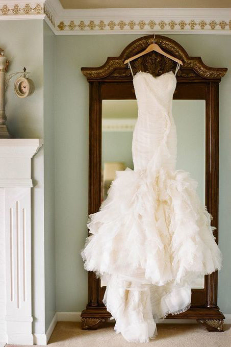 Mermaid Wedding Dresses,Sweetheart Wedding Dress,Ruffles Wedding Gown,Off White Bridal Dress