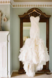 Mermaid Sweetheart Ruffles Off White Wedding Dresses OK776