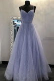 Blue Spaghetti Straps A Line Beading Sequins Long Prom Dress OKT43