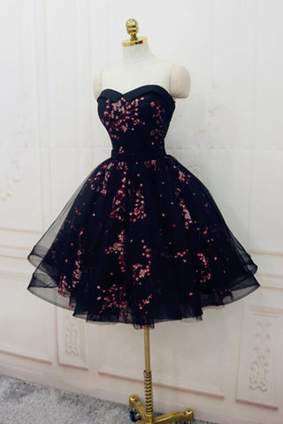 Charming Black Cute Floral Formal Dresses, Black Party Dress, Homecoming Dresses OKO72