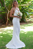 Ivory Spaghetti Straps Sexy Backless Long Lace Mermaid Beach Wedding Dresses OK274