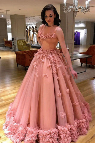 aa43a3196511 Pink Long Ball Gown Prom Dress, Quinceanera Dresses, Sweet 16 Dresses OKG85