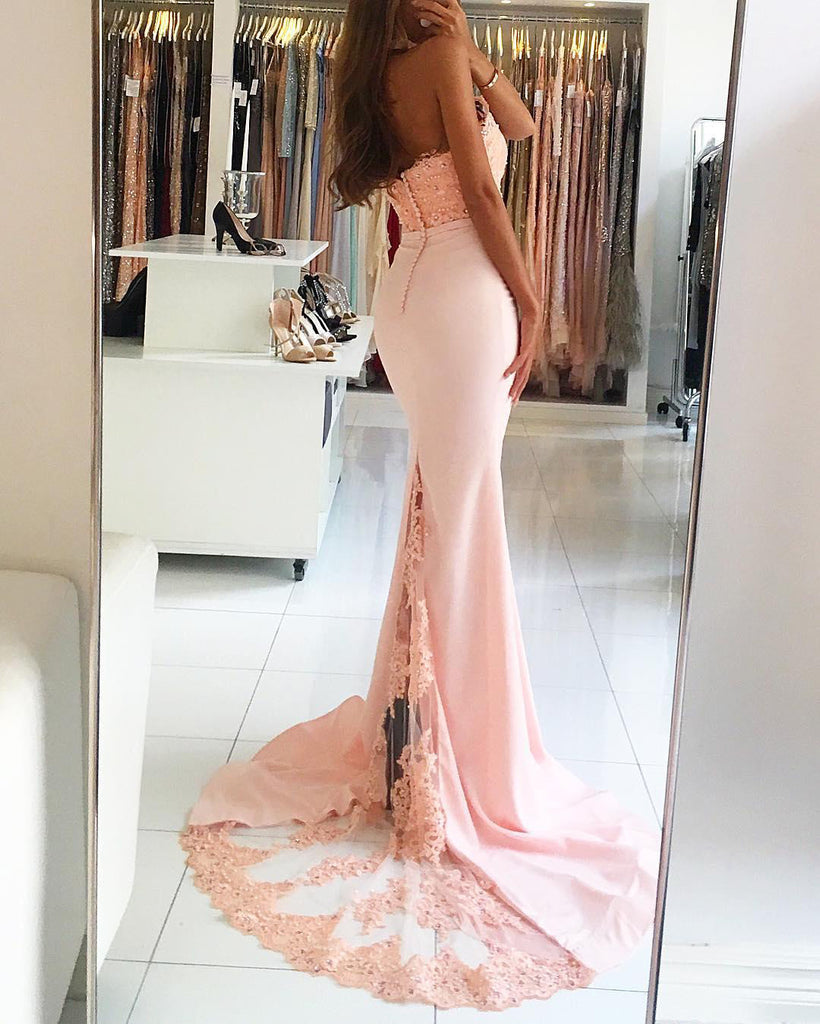Sexy Backless Mermaid Satin Prom Dress with Train,Long Open Back Evening Dress OK120