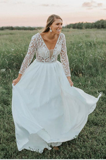 Long Sleeves A Line V Neck Lace Top Long Wedding Dress OKG80