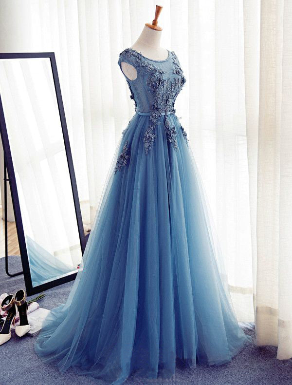 Charming Long Tulle Handmade A Line Blue Prom Gowns,Best Formal Women Dress OK243