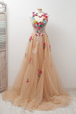A-line Sleeveless Open Back Appliques Tulle Long Prom Dress Flowers OKE81