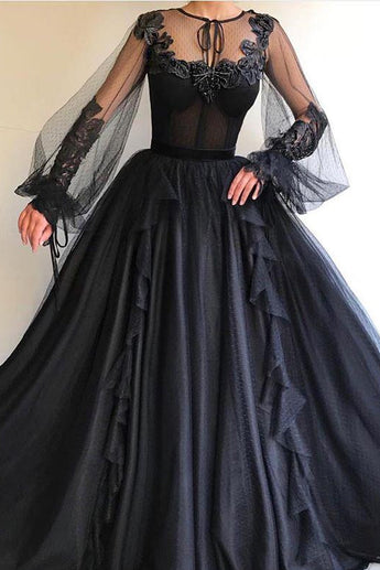 Black Long A-line Tulle Prom Dress, Long Sleeves Modest Evening Gown OKG78