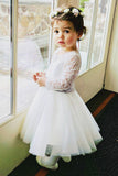 Long Sleeves Light Ivory Lace Tulle Flower Girl Dress With Silver Sash OK206