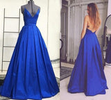 Royal Blue Backless Sexy A Line Long Simple Ball Gown Spaghetti Strap Prom Dresses  OK146