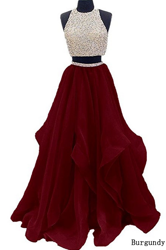 Two Piece Floor Length Burgundy Prom Dress Beaded Open Back Evening Gown OK603