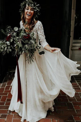 Boho Ivory Chiffon 3/4 Sleeves Two Piece Cheap Wedding Dress OKN88