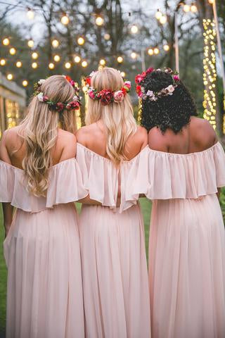 Simple Pink Off the Shoulder Pink Ruffles Long Bridesmaid Dresses OKA55