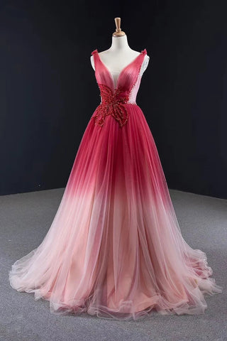 Changing Ombre A Line Tulle Long Beaded Lace Up Back Prom Dresses OKV46