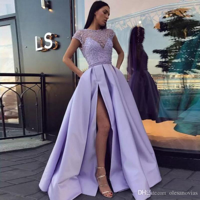 Light Purple A Line Satin Slit Cap Sleeves Prom Dresses With Pockets OKE52