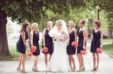 Chiffon V Neck Navy Blue Straps Bridesmaid Dress with Ruffles OKG65