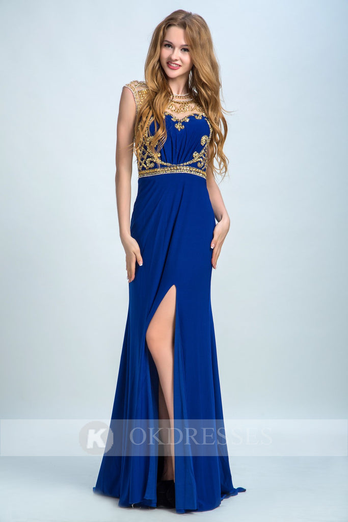 Royal Blue Prom Dress,Long Evening Dress,Formal Evening Dress,Sexy Party Dresses,Chiffon Prom Dresses,Beading Prom Dresses,Split Prom Dresses