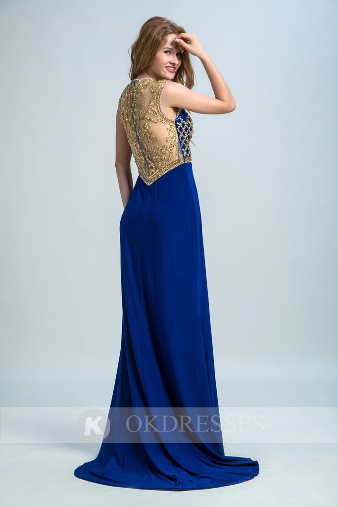 Royal Blue Long Formal Sexy Chiffon Beading Split Prom Evening Dresses OK251