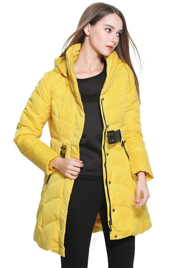 Newest Yellow Winter Women's Comfy Thickening Coat Long Down Jackets D10