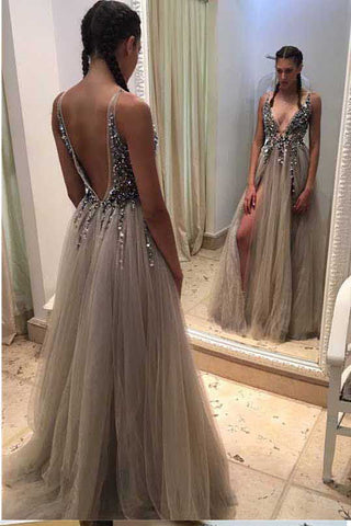 2bbf9cad93a Sexy Deep V-neck Long A-line Tulle Backless Lace Prom Dresses Women Dresses