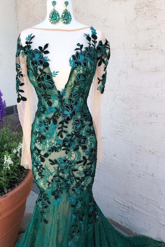 Mermaid Dark Green Prom Dresses With Long Sleeves Illusion Neck Party Dresses OKS6