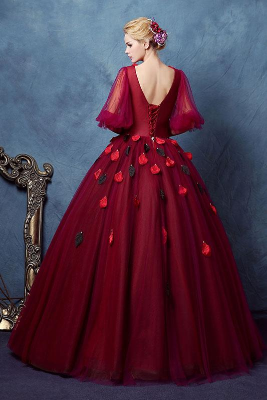 Dark Red Half Sleeves V Neck Ball Gown Prom Dress with Rose Petal OKV7