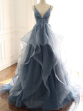 Deep V Neck Appliqued Spaghetti Straps Multi-Layered Organza Blue Bridal Dresses OKS11