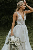 Deep V Neck Flower Applique Wedding Dresses Ivory A Line Wedding Gowns OKP87