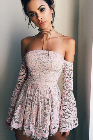 Long Sleeves Homecoming Dress,off the shoulder Homecoming Dresses, pink prom dress,short prom dresses,blush pink homecoming dresses,modest homecoming dress,short prom gowns 2017,short Homecoming Dress,Homecoming Dress