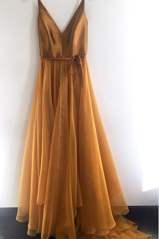 Spaghetti Strap A Line V Neck Gold Formal Cheap Long Prom Dresses OKG75