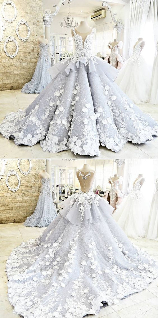 Pretty Ball Gown Flowers Long Quinceanera Dress,Backless Princess Formal Dress Wedding /Prom OK259