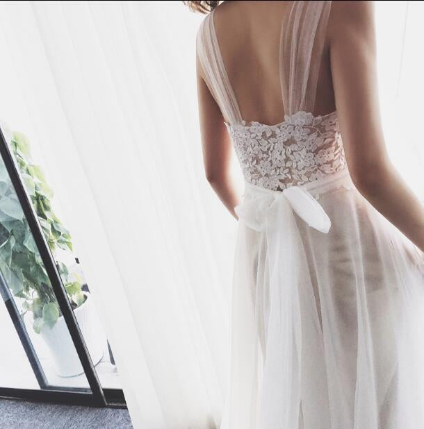 Straps Tulle White Lace Beach Long Backless A Line Wedding Dresses OK560