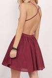 Burgundy Lace Homecoming Dress,Spaghetti Straps Chiffon Short Prom Dress,Cheap Evening Dress OK353