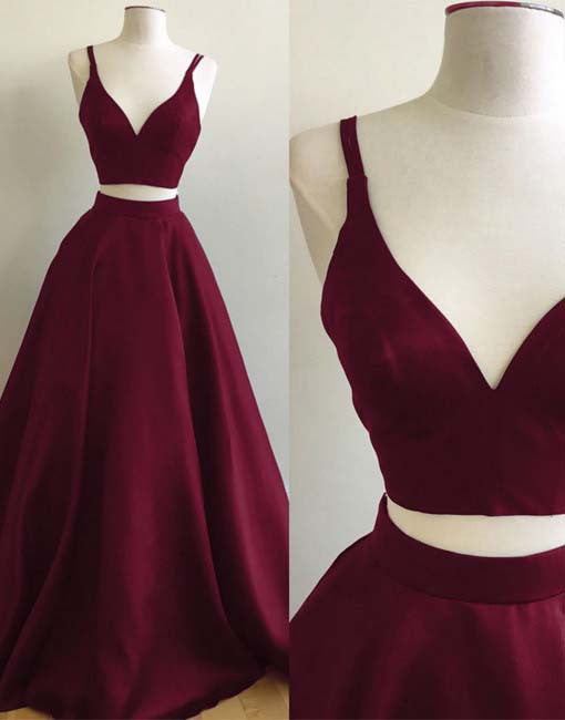 Simple Black Burgundy Satins V-neck Two Pieces A-line Prom Dresses OK131