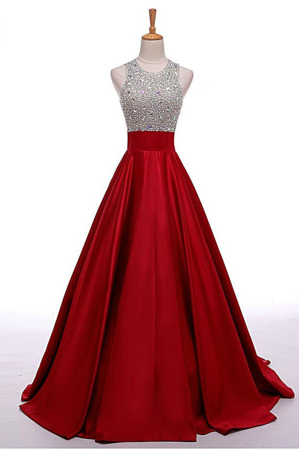 Red Long Beading A Line Prom Dresses Cheap Evening Dresses