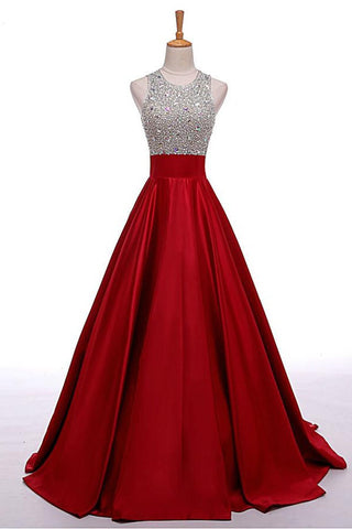 Red Prom Dresses,Lomg Evening Dress,Beading Party Dresses,Beading A-line Prom Dresses,Cheap Prom Dress,Prom Dresses For Teens,Satin Evening Dresses
