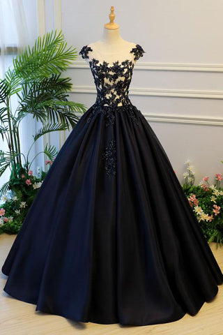 Puffy A Line Cap Sleeves Black Satin Long Prom Dress With Appliques
