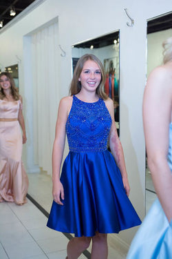 Royal Blue Short Prom Dress, Homecoming Dress For Graduation Party OKL78