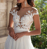 Ivory Lace Front Slit See Through Cap Sleeves Custom Made Beach Wedding Dresses OK273
