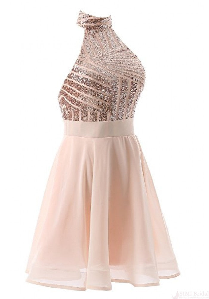Halter Sequins Short Prom Dresses,Backless Mini Homecoming Dresses,Cocktail Dresses OK496