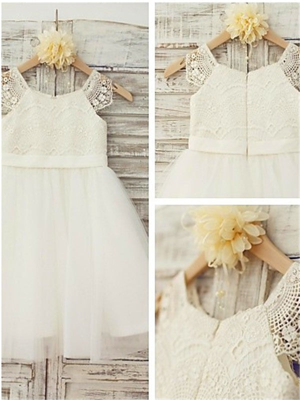 Princess Ivory A-line Scoop Sleeveless Floor-Length Lace Flower Girl Dresses OK714