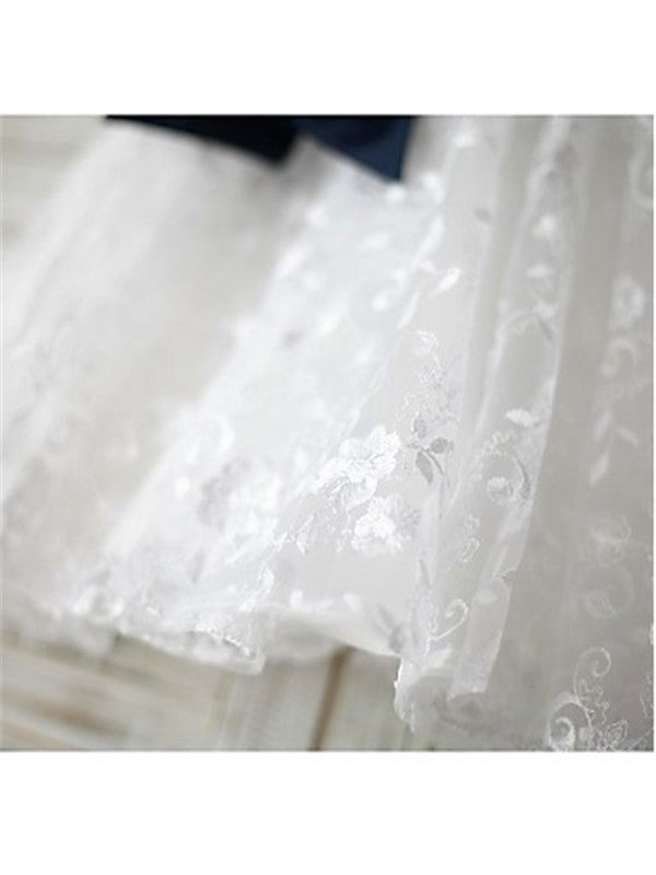 White A-line Scoop Sleeveless Bowknot Floor-Length Lace Flower Girl Dresses OK725