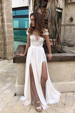 Sexy Chiffon Cap Sleeves Long Split Beach Wedding Dresses OKC79