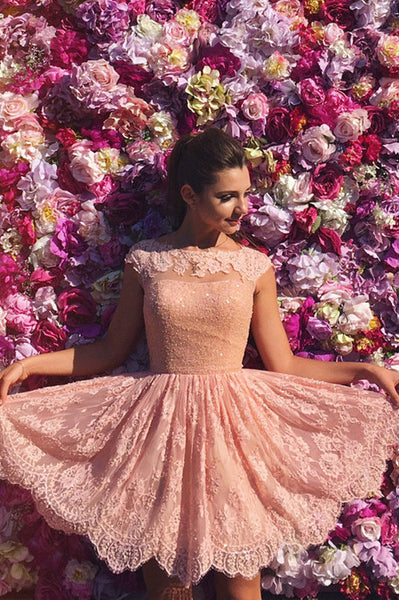 Princess Prom Dresses,A-Line Homecoming Dresses,Lace Homecoming Dresses,Short Prom Dresses,Pink Homecoming Dresses,Cap Sleeves Prom Dresses,Short Homecoming Dress,Open Back Prom Dress