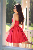 Sweetheart A Line Pleated Red Homecoming Dresses, Short Graduation Dress OKB72