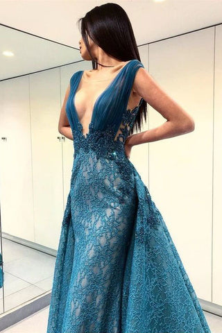 A-Line Deep V-Neck Lace Blue Floor Length Prom Dresses OKF49
