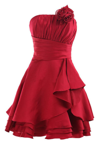 Strapless Red A Line Pleats Short Prom Dress With Flowers, Homecoming Dress OKG87