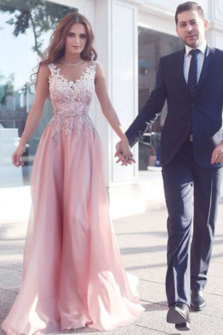 Elegant Appliques Sleeveless Pink Floor-Length A-Line Prom Dresses/Evening Gown OK192