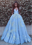 Wonderful Ball Gown Appliques Prom Dresses,Formal Blue Evening Dresses,Quinceanera Dresses OK357